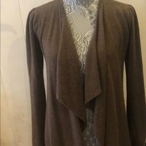 Dark Brown 100% Cashmere Long Cardigan Sweater